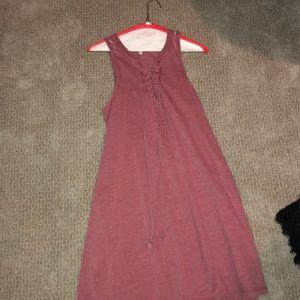 Tie front pink dress